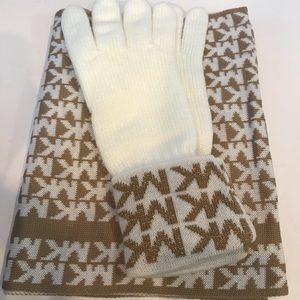 Michael Kors Reversable Scarf and Gloves